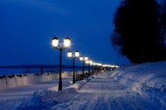 Городской пейзаж ночи зимы Стоковая Фотография