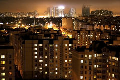 Городской пейзаж ночи, Минск, Беларусь Стоковые Фото