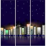 Городской пейзаж ночи с звездами Современные здания с ярким освещением знамена стоковые фотографии rf