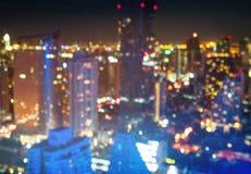 Городской пейзаж, ночная жизнь, небоскребы, городские Стоковые Изображения RF