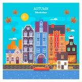 Городской пейзаж осени с лиственными листьями Городской ландшафт с большим горизонтом с частными домами также вектор иллюстрации  Стоковое фото RF