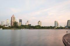 Городской пейзаж парка нации Benjakitti Стоковые Фотографии RF
