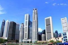 Городской пейзаж реки Сингапура Стоковое Изображение