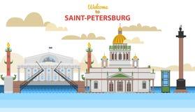 Городской пейзаж Санкт-Петербурга плоский vector иллюстрация для дизайна ваши вебсайт или издания иллюстрация вектора