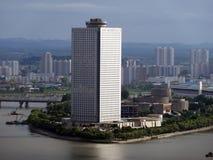Городской пейзаж Северной Кореи Пхеньяна стоковые фотографии rf