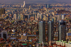Городской пейзаж Сеула Стоковые Изображения