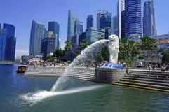 Городской пейзаж Сингапура Merlion Стоковые Изображения RF