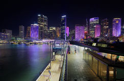 Городской пейзаж Сиднея к ноча Стоковое Изображение