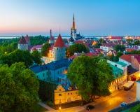 Городской пейзаж старого городка Таллина, Эстонии Стоковые Изображения RF