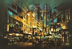 Городской пейзаж сцены ночи иллюстрация вектора