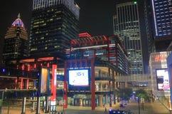 Городской пейзаж Тайбэй Тайвань ночи покупок квадрата жизни Xinyi новый Стоковое Изображение RF