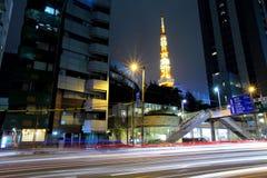 Городской пейзаж токио на ноче Стоковые Изображения