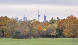 Городской пейзаж Торонто с небоскребами и серое небо на предпосылке Стоковая Фотография