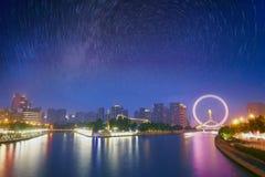 Городской пейзаж Тяньцзиня и след звезды, Китай Стоковое Изображение RF