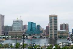 Городской пейзаж федерального холма в Балтиморе, Мэриленде во время лета Стоковые Изображения