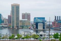 Городской пейзаж федерального холма в Балтиморе, Мэриленде во время лета Стоковые Изображения RF
