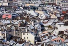 Городской пейзаж Цюриха в зиме Стоковое фото RF