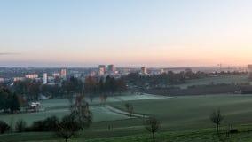 Городской пейзаж Цюриха с оранжевым небом Стоковое Изображение