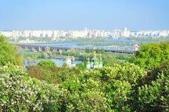 Городской пейзаж Kyiv, река Dniper, Украина Стоковые Фото
