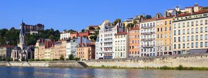 Городской пейзаж Lyon от реки Saone Стоковая Фотография RF