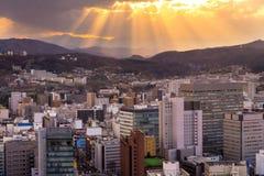 Городской пейзаж miyagi, взгляд небоскреба города воздушный строения офиса Стоковая Фотография