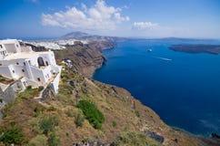 Городской пейзаж Thira в острове Santorini, Греции Стоковое фото RF