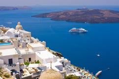 Городской пейзаж Thira в острове Santorini, Греции Стоковое Изображение