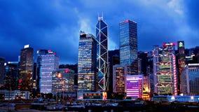 Городской пейзаж Timelapse захода солнца Гонконга. видеоматериал