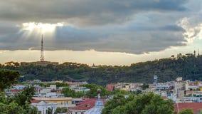 Городской пейзаж timelapse Рима под драматическим небом как увидено от холма Pincio, Италии сток-видео