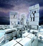 Городской пейзаж Wintertime с волшебными облаками и снежностями Стоковое Изображение RF