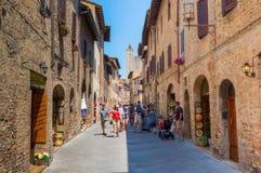 Городской центр San Gimignano, Италии Стоковое Изображение RF