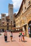 Городской центр San Gimignano, Тосканы, Италии Стоковые Изображения RF