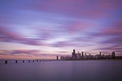 Городской Чикаго на заходе солнца Стоковое Изображение