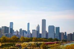 Городской Чикаго, IL в утре Стоковая Фотография