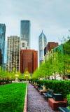 Городской Чикаго, IL на заходе солнца Стоковое Изображение RF