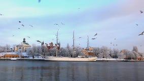 Город Стокгольма на зиме сток-видео