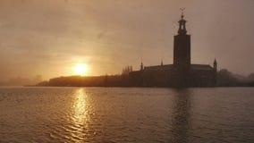 Город Стокгольма на сумраке сток-видео