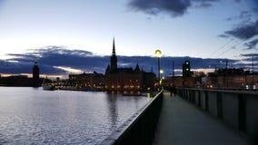 Город Стокгольма на сумраке видеоматериал
