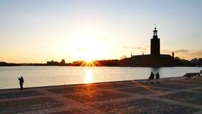 Город Стокгольма на сумраке акции видеоматериалы