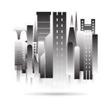 Город строя черный дизайн значка в формате вектора на белой предпосылке Стоковые Фотографии RF