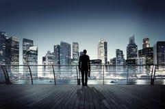 Город сцены корпоративного городского пейзажа бизнесмена городской строя Concep Стоковое фото RF