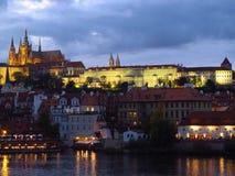 Город сцены ночи Праги Стоковые Изображения RF