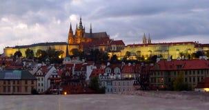 Город сцены ночи Праги Стоковая Фотография