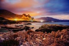 Город с ночой на пляже Сицилия Италия европа Стоковое фото RF