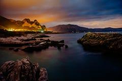 Город с ночой на пляже Сицилия Италия европа Стоковые Фото
