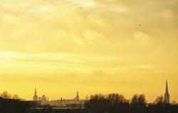 Город Таллина в заходе солнца Стоковые Фото