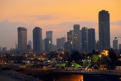 Город Тель-Авив на восходе солнца Сумрак утра Стоковое Изображение RF