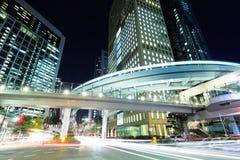 Город токио с светом автомобиля стоковая фотография rf