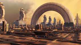 город футуристический Стоковые Фотографии RF