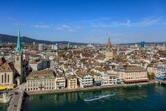 Город Цюриха как увидено от башни собора Grossmunster Стоковая Фотография
